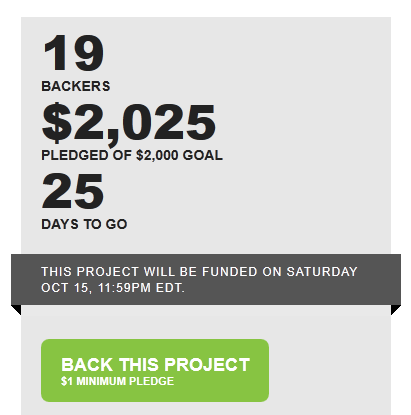 19 Backers ⚂ $2,025 pledged of $2,000 goal ⚂ 25 days to go